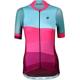 Biehler Pro Team Fietsshirt korte mouwen Dames roze/turquoise